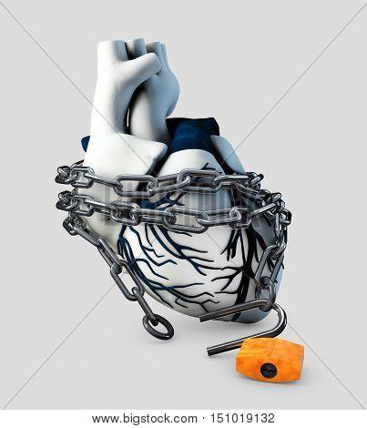 3d Illustration of Anatomy Unlock Human Heart - Isolated on gray