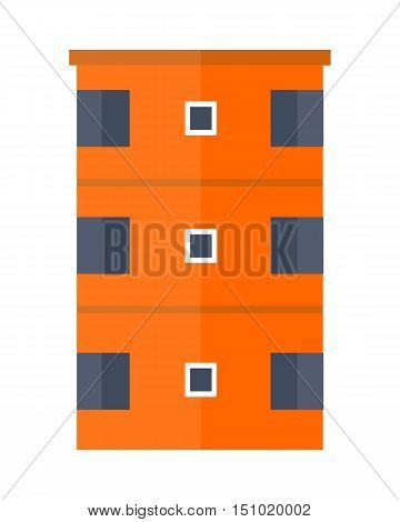 Orange modern apartment building. Architecture apartment icon, building residential, business multistory building, office building. Isolated object on white background. Vector illustration.