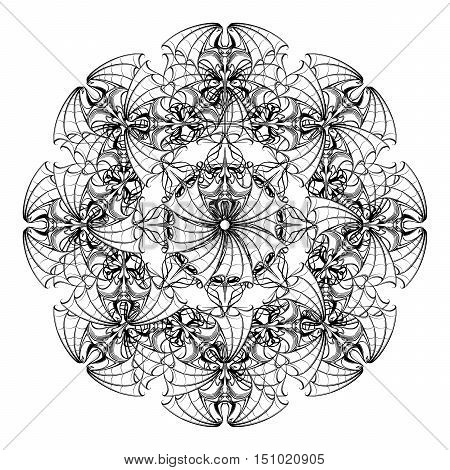 Intricate stylized circular ornament with bats for Halloween. Freehand sketch for adult coloring page. Tattoo design. Ornamental artistic drawing for t-shirt print EPS10 vector illustration.