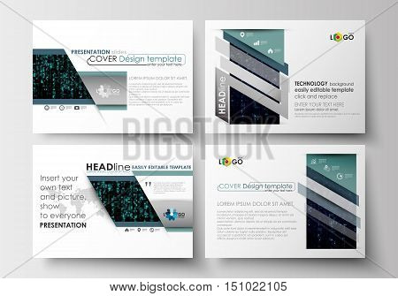 Set of business templates for presentation slides. Easy editable abstract layouts in flat design. Virtual reality, color code streams glowing on screen, abstract technology background with symbols.
