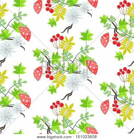 Rowan leaves and amanita mushroom seamless pattern. Floral bouquet background.