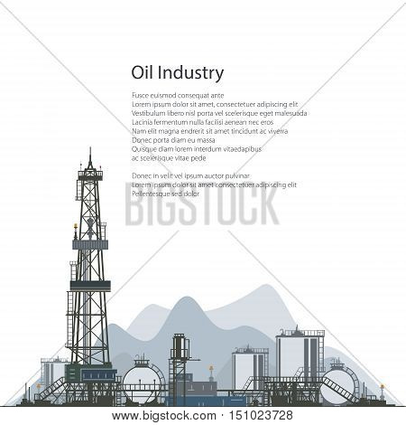 Oilfield, Drilling Oil or Natural Gas Rig with Outbuildings and Tanks and Cisterns, Poster Brochure Flyer Design , Vector Illustration