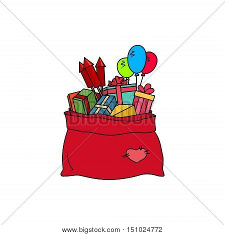 Colorful Red Bag of Santa Claus Isolated on White Background, Bag with Gifts and Multicolored Firecrackers and Balloons, Vector Illustration