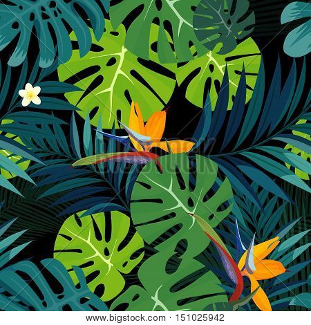 Colorful tropical flower, plant and leaf pattern background. Vector illustration.