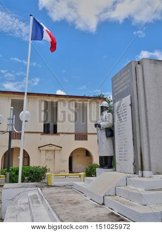 Port Louis Guadeloupe France - may 10 2010 : the old courthouse and the war memorial