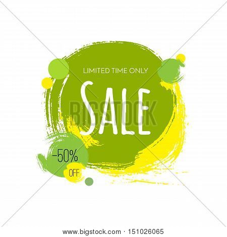 Sale. 50 percent off. Limited time only. Vector colorful banner illustration