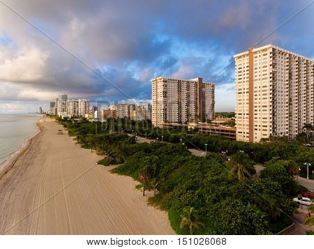 Aerial view of Miami South Beach with hotels and coastline.