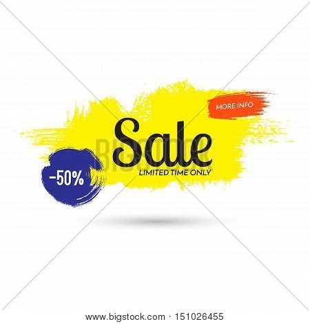 Sale. 50 percent off. Limited time only. More info. Vector colorful banner illustration