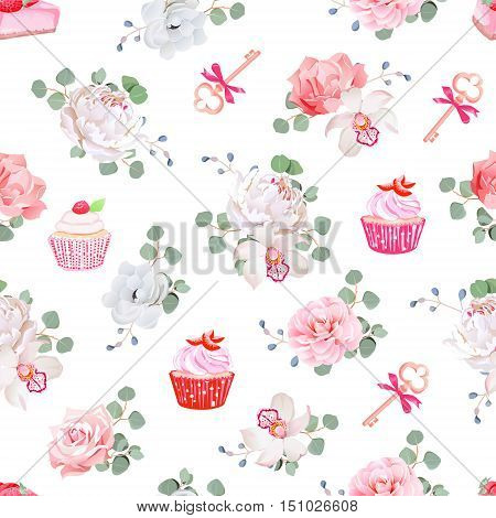 Tasty pastries bouquets of flowers keys with red bows on white seamless vector print. Peony orchid rose camellia cupcakes strawberry cheesecake.