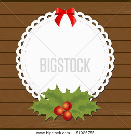 Round Christmas frame in the form of napkin with the bow and a Christmas flower on wooden background from boards. template postcard greeting. new year vector illustration