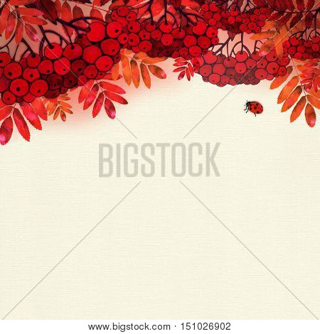 Raster watercolor autumn illustration with rowan and leaves