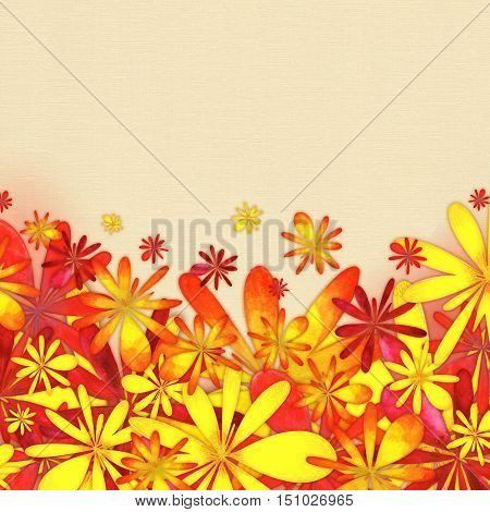 Raster Watercolor Autumn Background with yellow, orange and red flowers
