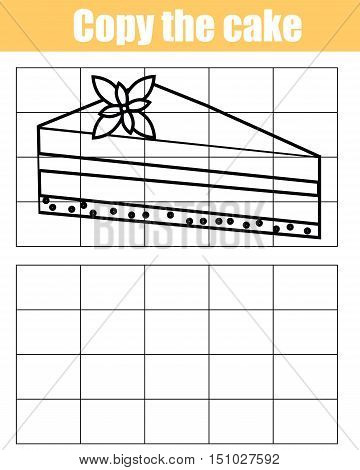 Copy the picture using a grid children educational drawing game. Printable kids activity, copy the cake worksheet