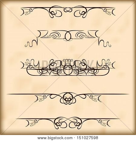 Decorative calligraphic elements and headers set. For retro design and embellishments