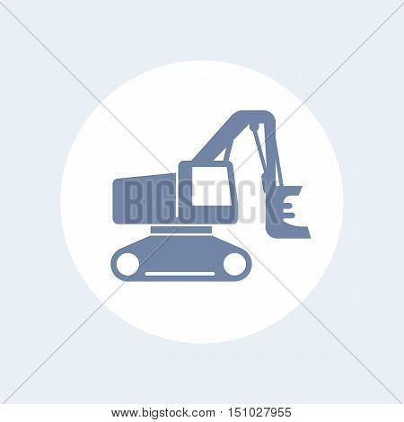 Forest harvester icon track feller buncher timber harvesting machine isolated on white vector illustration