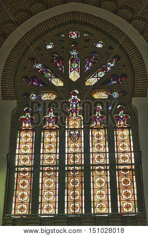 TOLEDO, SPAIN - JULY 17, 2016: Toledo (Castilla-La Mancha Spain): interior of the historic railway station. A stained glass window