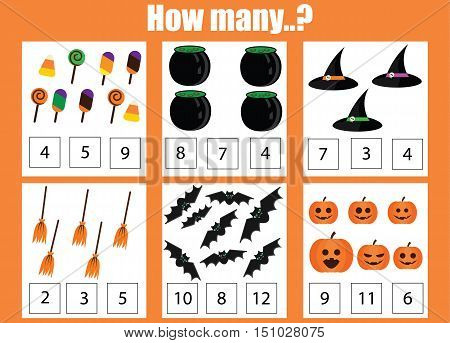 Counting educational children game kids activity worksheet. How many objects task. Learning mathematics numbers addition worksheet. Halloween theme