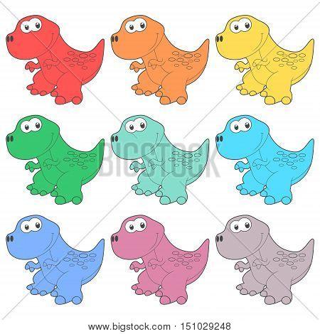 Cute Cartoon Dinosaur icons set on white background
