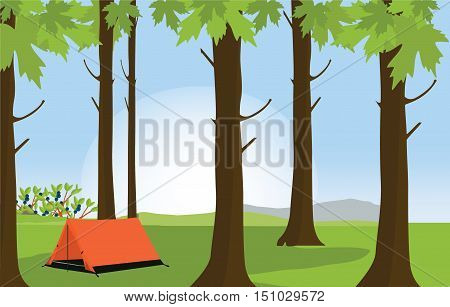 Vector illustration green sunny summer forest landscape and camping tent. Forest background. Orange tent at campsite