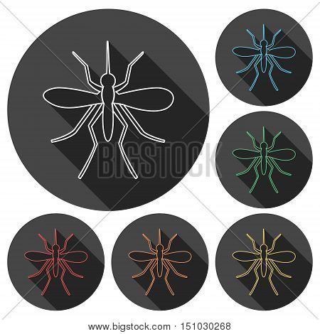 Simple Mosquito icons set with long shadow
