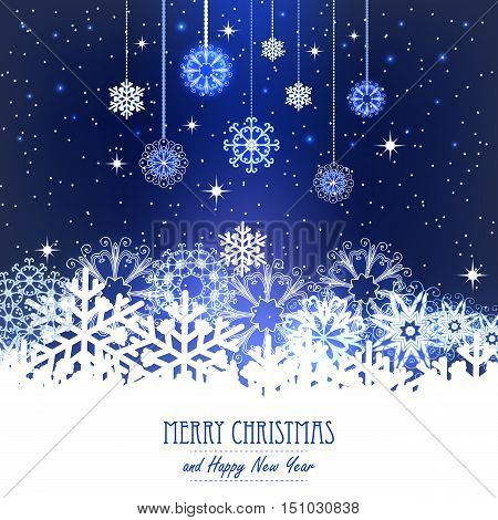 Vector illustration abstract Christmas Background. Snowflakes, night sky