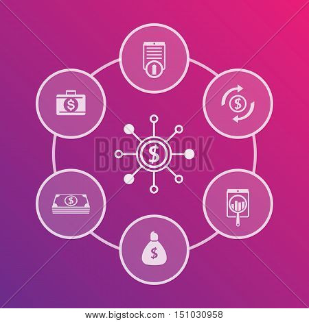 finance investments capital funds icons business design finance report elements vector illustration