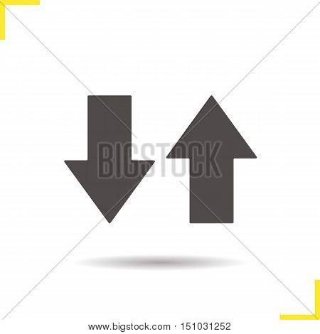 Up and down arrows icon. Drop shadow silhouette symbol. Download and upload. Opposite direction arrows. Vector isolated illustration