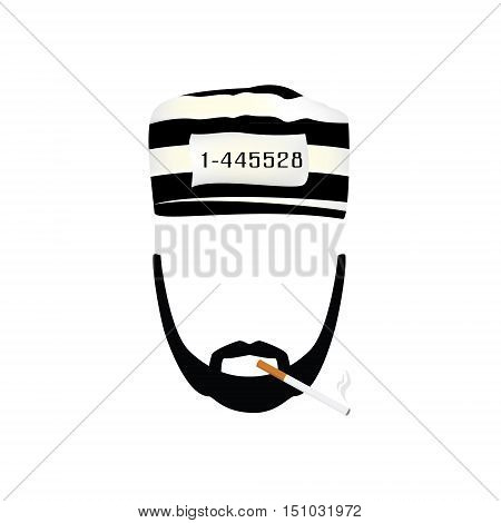 Vector illustration prisoner in hat with number on stripted hat and burning cigarette. Gangster with mustache and beard