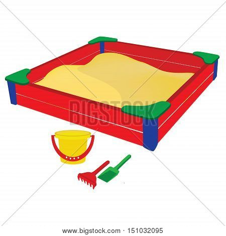 Vector illustration colorful sandbox with baby toys bucket sand shovel and rake. Beach toys