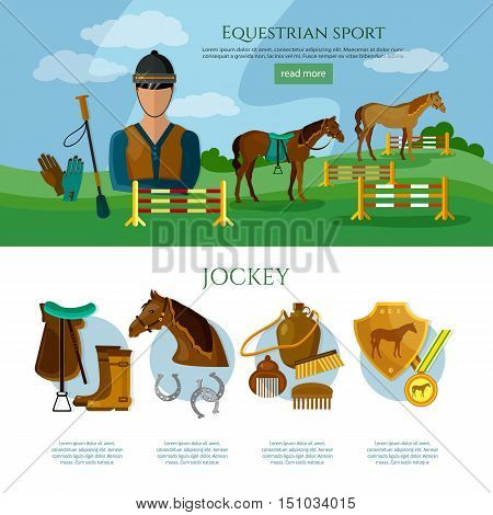Equestrian sport infographics professional jockey horse riding vector