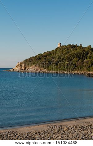 Saracen Tower On Promontory In Italy In Sardina Coast:  Tower On Promontory In Italy In Sardina Coas