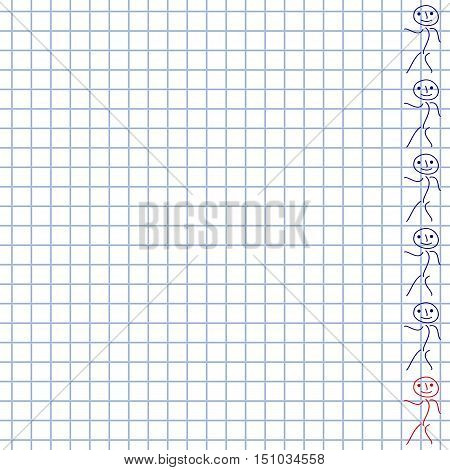 White squared paper background with doodle man. School hand-drawn doodles. Vector illustration