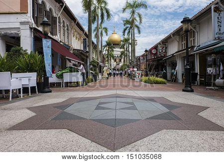 Sultan Mosque Singapore September 15 2016:- The oldest Mosque located at Muscat Street and North Bridge Road Within Kampong Glam precinct of the district of Rochor in Singapore.