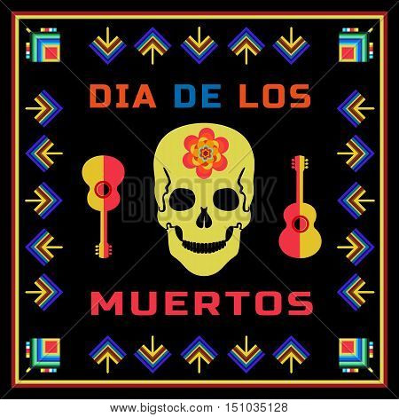 Mexican Dia de los Muertos. Day of the Dead sugar skull flower guitar. Traditional holiday celebration in Mexico. Design of festival party banner with cavalera symbol background. Vector illustration