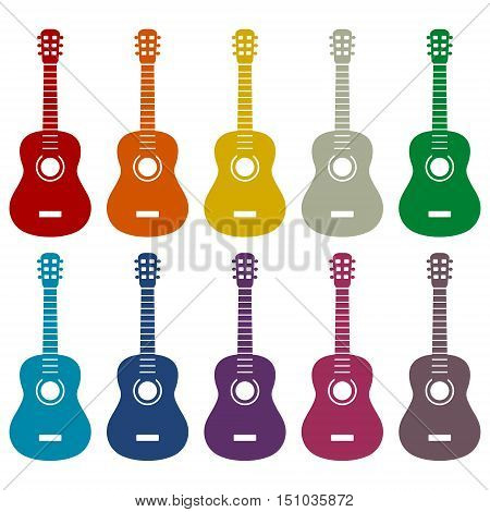 Simple Acoustic guitar icons set on white background