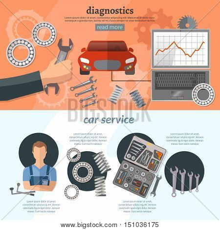 Car service infographics mechanic auto service center tool box car diagnostics tuning professional auto repair vector illustration