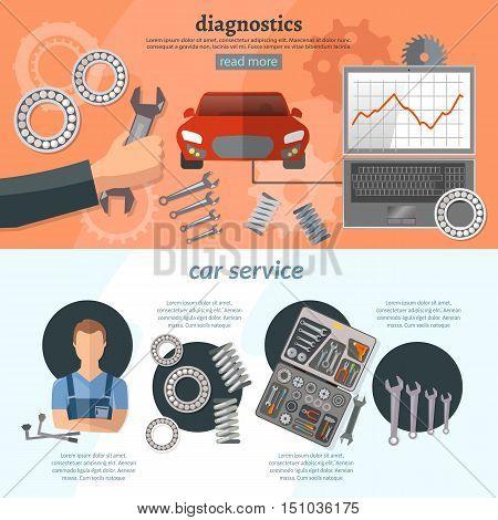 Car service infographics mechanic auto service center tool box car diagnostics tuning professional auto repair vector illustration