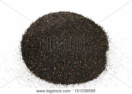Pile of Black islandic sand macro photo studio