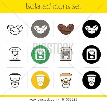 Coffee icons set. Flat design, linear, black and color styles. Roasted coffee beans, espresso machine, takeaway paper cup. Isolated vector illustrations