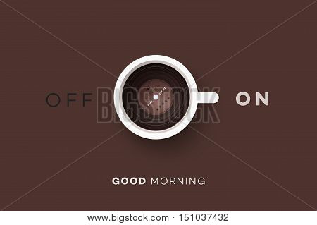 Good Morning. Conceptual Motivation Illustration. Cup Of Coffee With Vinyl Record Inside And Abstract On Off Switcher. Vector EPS 10.