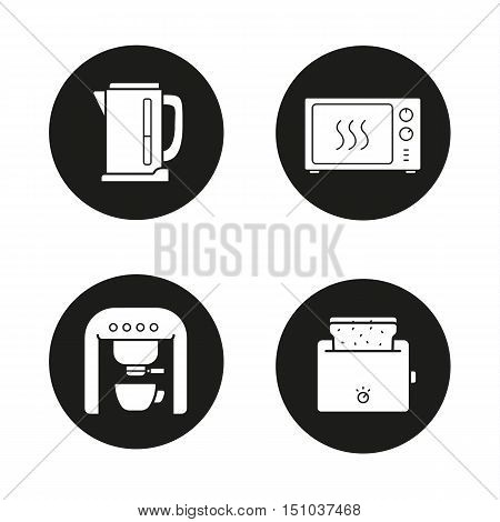 Kitchen appliances icons set. Electric kettle, microwave oven, espresso coffee machine, toaster. Vector white illustrations in black circles