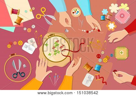 Tailor seamstress learn to sew fashion designer needlework lessons team hands vector illustration