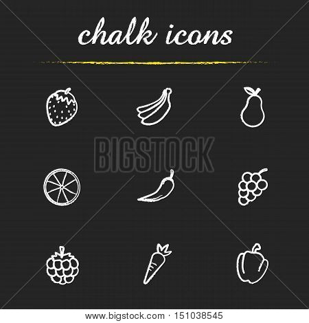 Fruit and vegetables chalk icons set. Strawberry, bundle of bananas, pear, orange, hot chili pepper, bunch of grapes, raspberry, carrot, paprika illustrations. Isolated vector chalkboard drawings