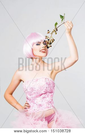 Pretty Girl In Pink Wig With Blackberry