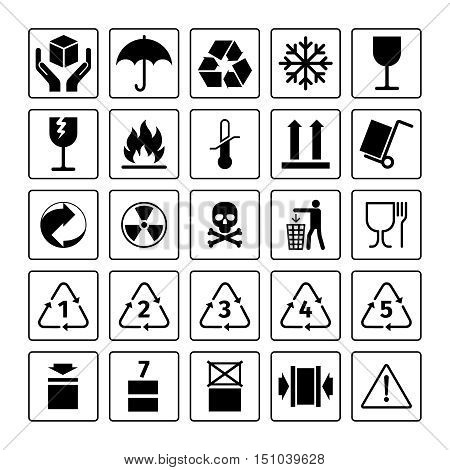 Packaging symbols. Vector package icons with waste recycling and fragile, flammable and this side up symbols