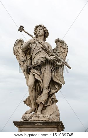 Marble statue of Angel with the Sponge by Antonio Giorgetti from the Sant'Angelo Bridge in Rome Italy