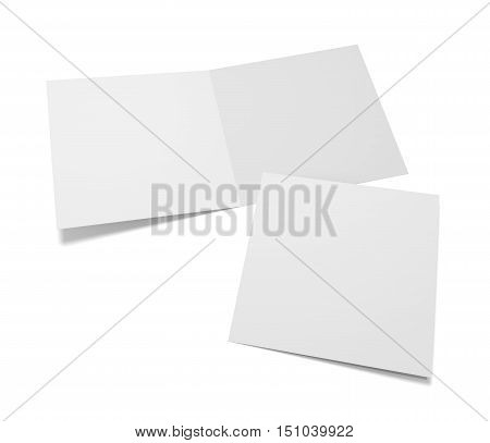 Blank square two greeting cards or brochure isolated on white. 3D rendering mockup. Cover presentation and open inside.