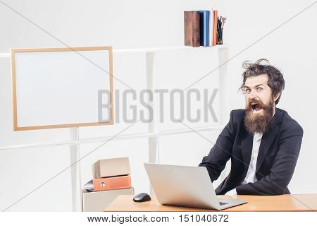 Mad Businessman Shouts At Workplace