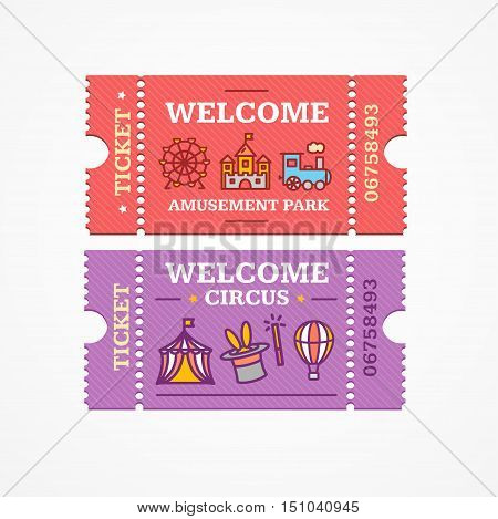 Circus and Amusement Park Tickets Flat Design Style Icon Set. Vector illustration