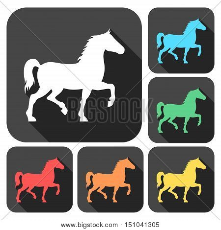 Horse silhouette icons set with long shadow